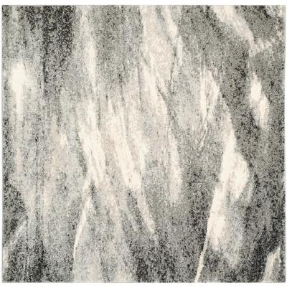 Retro Grey/Ivory 8 ft. x 8 ft. Square Area Rug