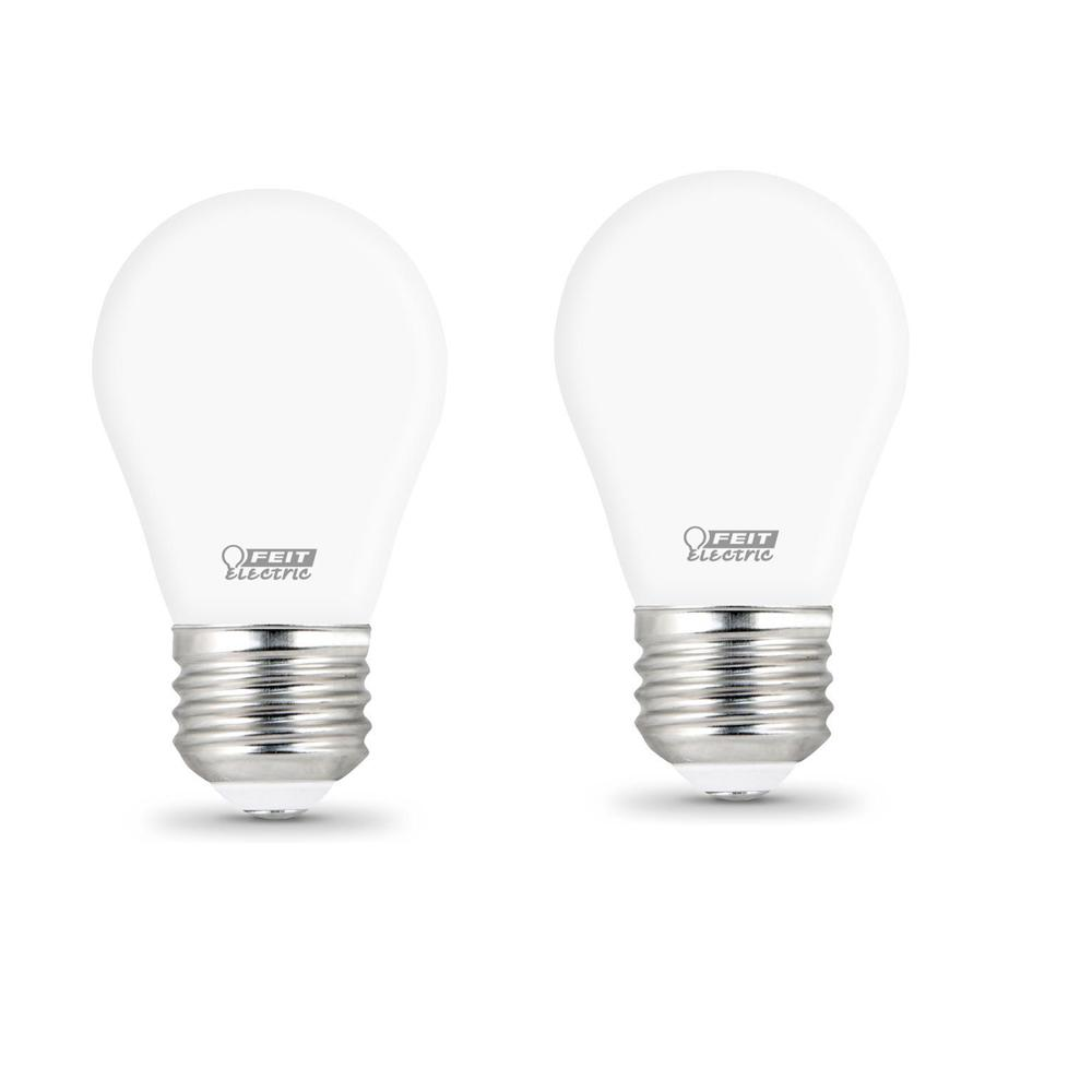Feit Electric 40-Watt Equivalent A15 Dimmable Filament CEC Title 20 90+ CRI White Glass LED Ceiling Fan Light Bulb Daylight (2-Pack)