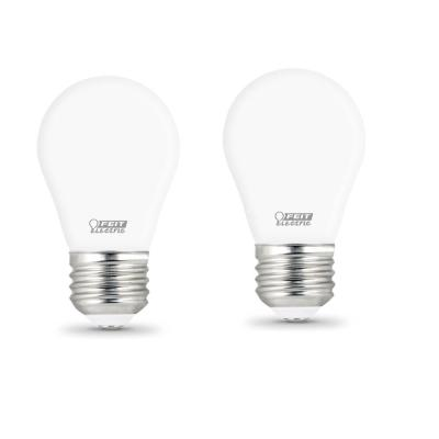 40-Watt Equivalent A15 Dimmable Filament CEC Title 20 90+ CRI White Glass LED Ceiling Fan Light Bulb Daylight (2-Pack)