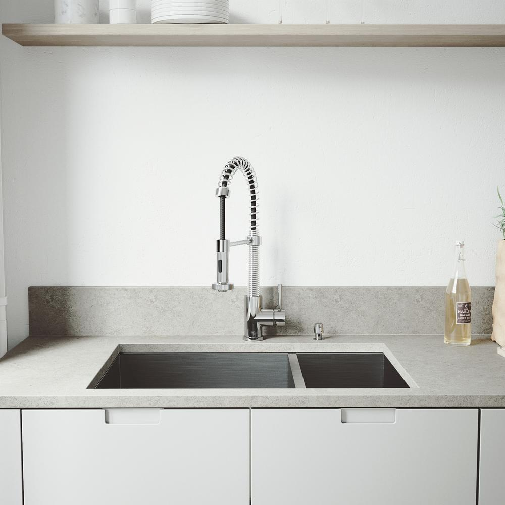 Endicott Stainless Steel 60/40 Double Bowl Undermount Kitchen Sink with Pull Down Faucet in Chrome & VIGO All-in-One 29 in. Endicott Stainless Steel 60/40 Double Bowl ...