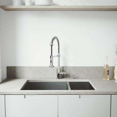 All-in-One Undermount Stainless Steel 29 in. Double Bowl Kitchen Sink and Faucet Set in Chrome