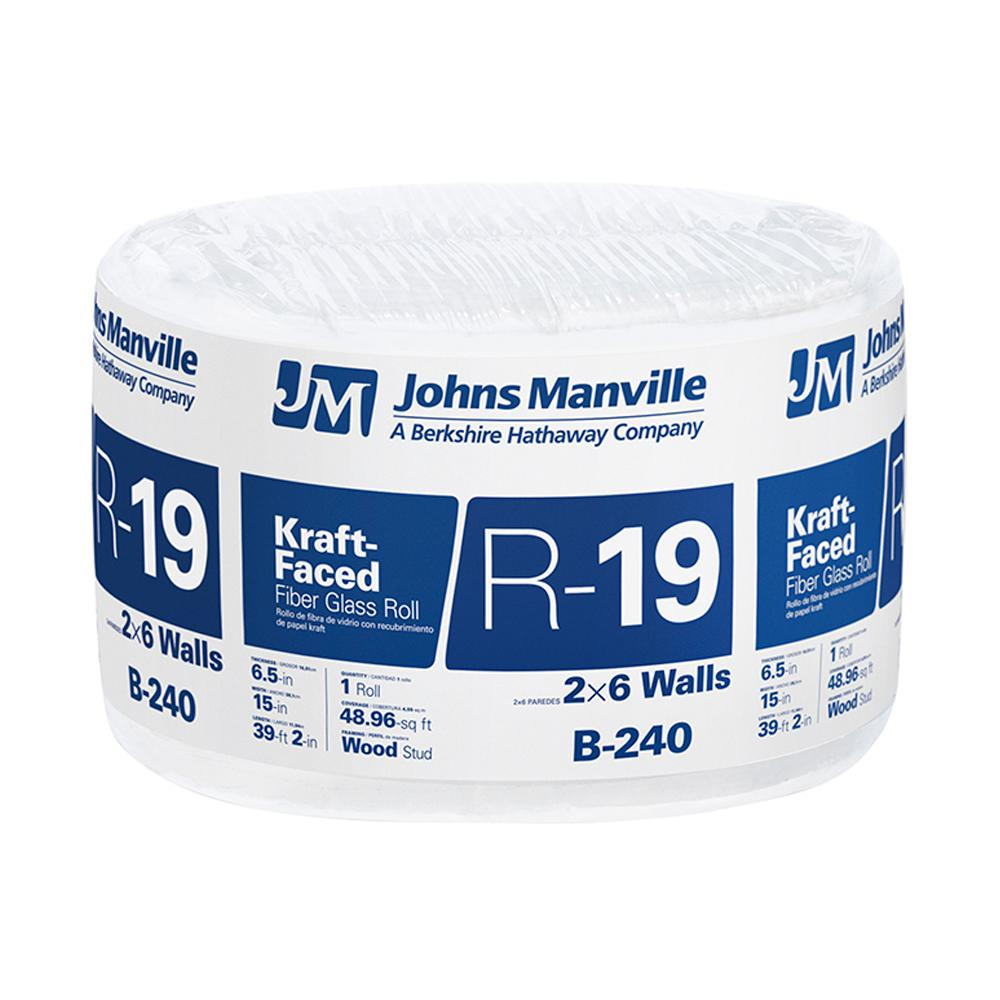 Johns Manville R 19 Kraft Faced Fibergl Insulation Roll 15 In X 39 16 Ft B240 The Home Depot
