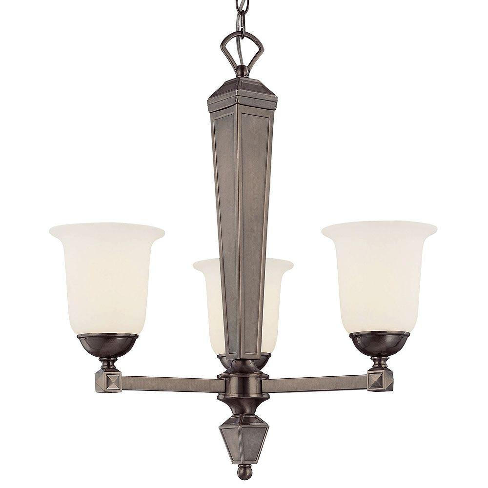 Illumine 3-Light Chandelier Brushed Pewter Finish White Frosted Glass