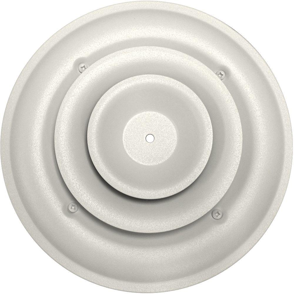 Sdi Grille 6 In Round Ceiling Air Vent Register White With Fixed Cone