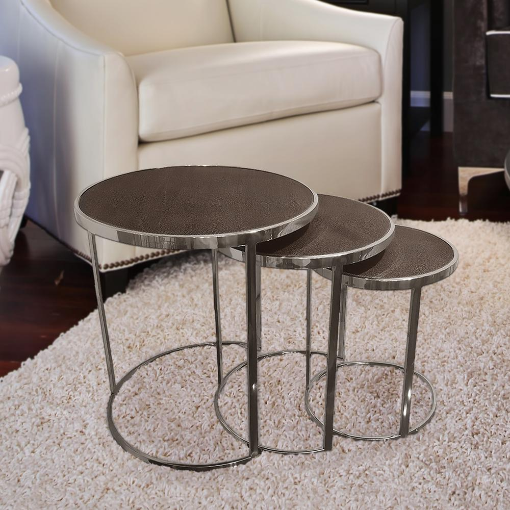 Bronze On Black Metallic Shagreen Leather Nesting Console Tables (Set Of 3)
