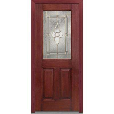 32 in. x 80 in. Master Nouveau Right-Hand Inswing 1/2-Lite Decorative Stained Fiberglass Mahogany Prehung Front Door
