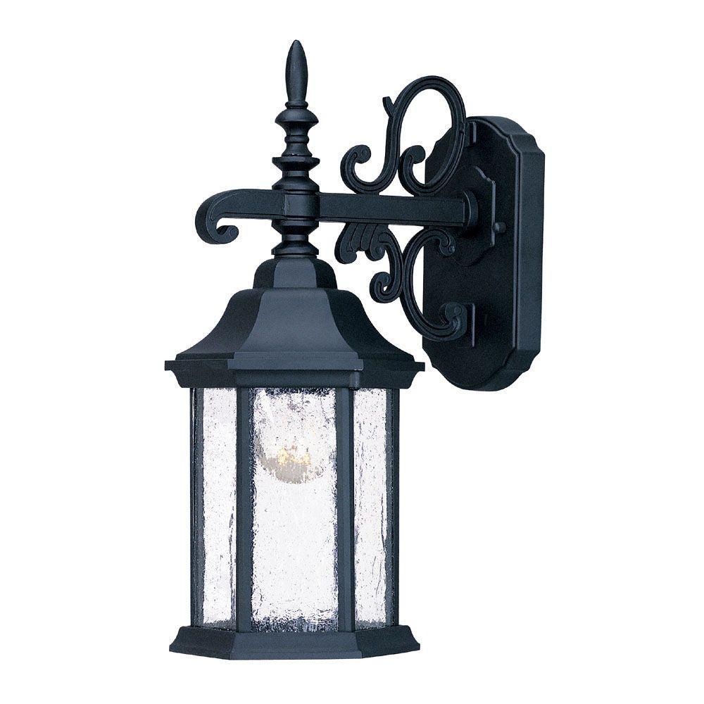 Madison Collection 1-Light Matte Black Outdoor Wall-Mount Light Fixture