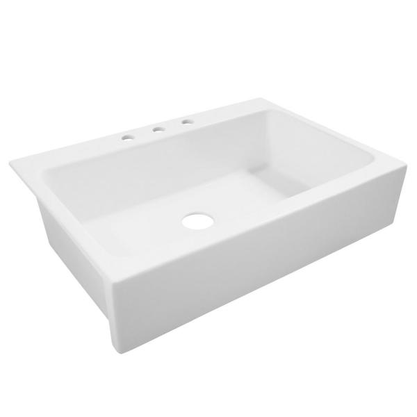Josephine Quick-Fit Drop-in Farmhouse Fireclay 33.85 in. 3-Hole Single Bowl Kitchen Sink in Snow Day Matte White
