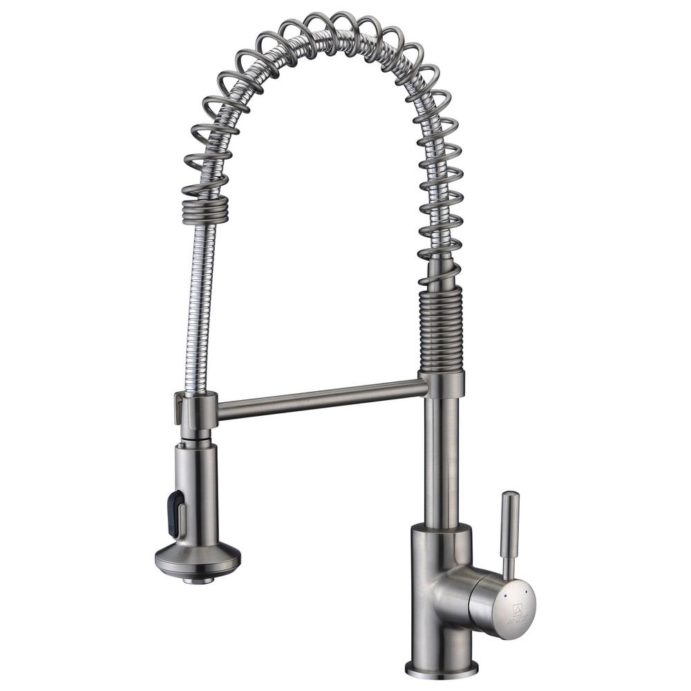 ANZZI Eclipse Single-Handle Pull-Down Sprayer Kitchen Faucet in Brushed Nickel