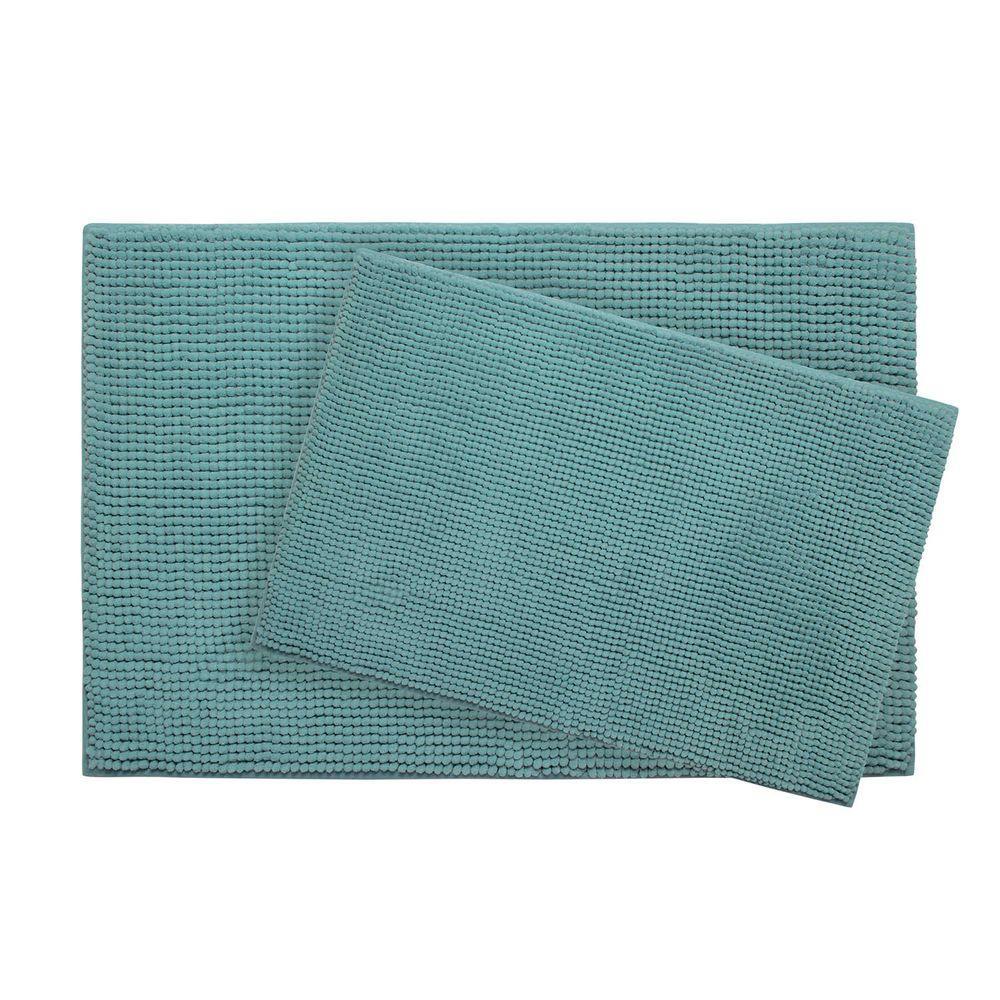 BounceComfort Plush Chenille Marine Blue 20 in. x 30 in. Memory Foam 2-Piece Bath Mat Set