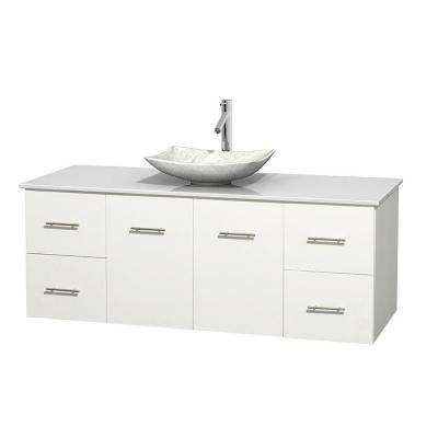 Centra 60 in. Vanity in White with Solid-Surface Vanity Top in White and Sink