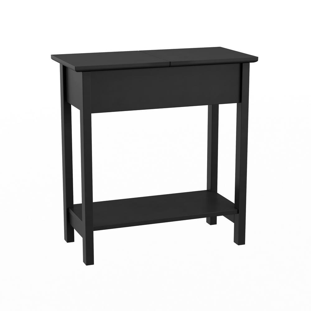 Matte Black Wooden Flip-Top Slim Slide End Table