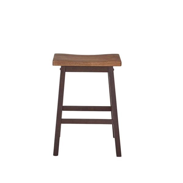 Kenny 24 in. Walnut and Chocolate Dining Counter Stools (2-Carton)