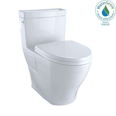 Aimes Wash Let with 1-piece 1.28 GPF Single Flush Elongated Toilet with CeFiONtect in Cotton White