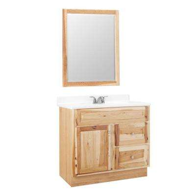Hampton 36 in. W x 21 in. D x 33.5 in. H Bath Vanity Cabinet Only with Mirror in Natural Hickory