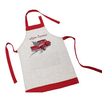Merry Christmas Truck 30 in. x 26 in. Beige/Cream Embroidered Adults Apron