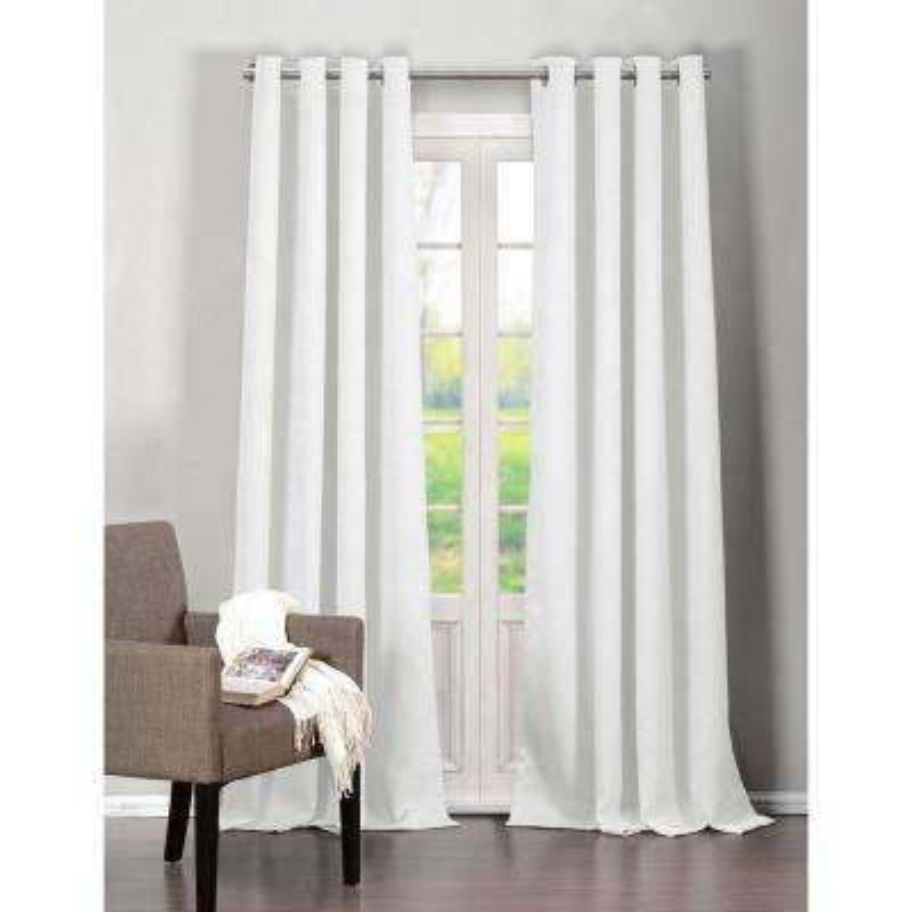 Semi-Opaque Quincy 84 in. L Room Darkening Grommet Panel in White (2-Pack)