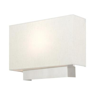 Meadow 14 in. Brushed Nickel Sconce with Hand Crafted Hardback Shade with Oatmeal Outside and White Inside