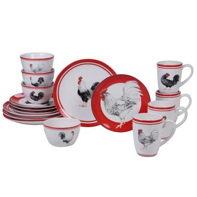 Homestead Rooster 16-Piece Multi-Colored Dinnerware Set
