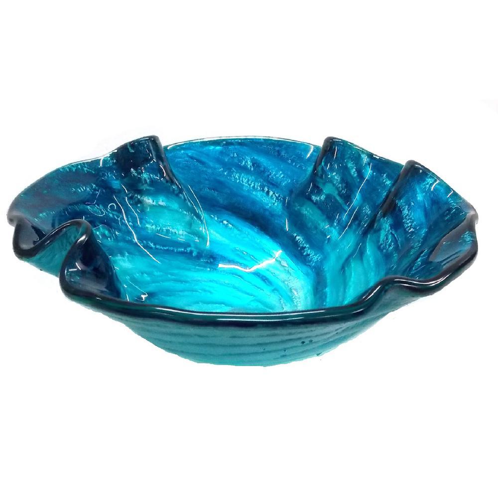 Superbe Eden Bath Caribbean Wave Glass Vessel Sink In Blue