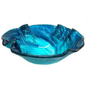 Eden Bath Caribbean Wave Glass Vessel Sink in Blue with Pop-Up Drain and Mounting Ring in Chrome by Eden Bath