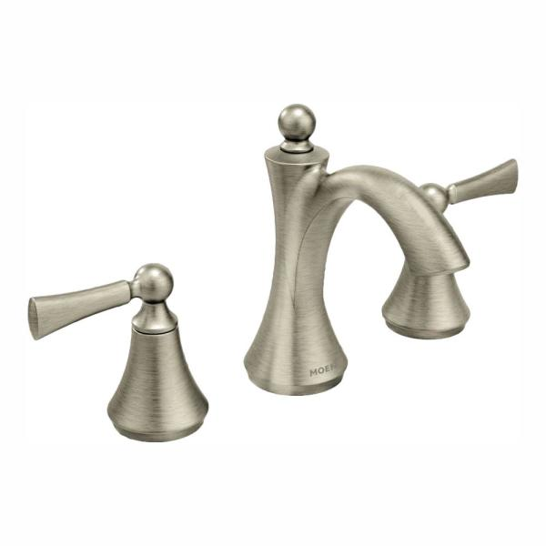 Moen T6920BN Rizon Two-Handle Widespread Bathroom Faucet without valve Brushed Nickel