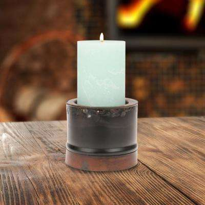 Slate and Rust Brown Metal Candle Holder