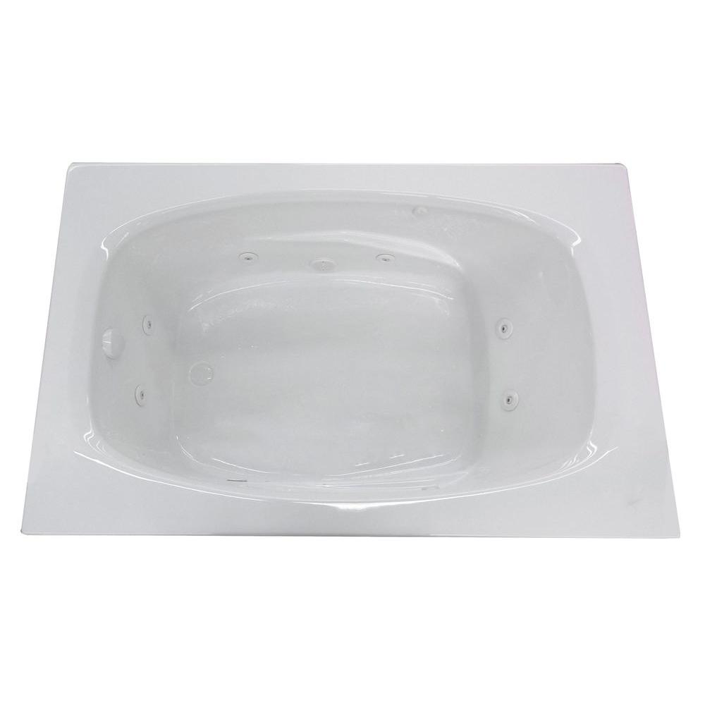 Universal Tubs Tiger's Eye 6 ft. Rectangular Drop-in Whirlpool Bathtub in White