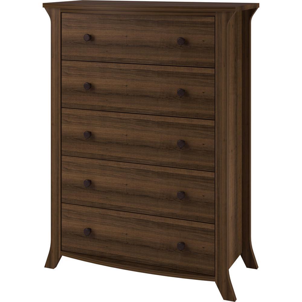 Ameriwood Home Palma Brown Oak 5-Drawer Dresser HD51824
