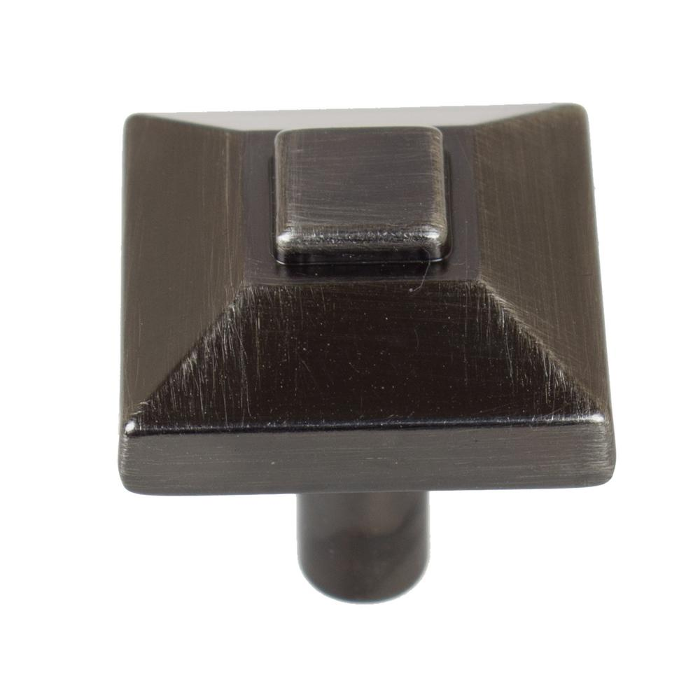 7/8 in. Brushed Pewter Square Pyramid Cabinet Knob (10-Pack)