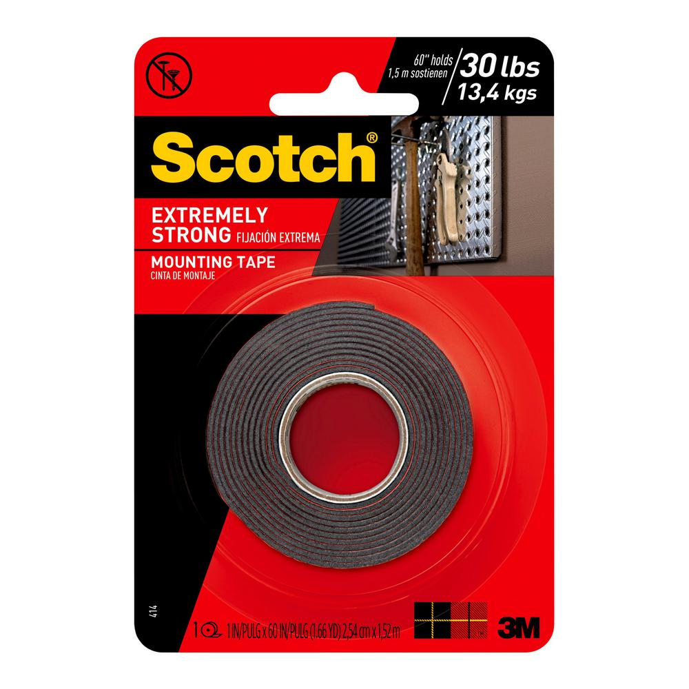 "3M Scotch Extremely Strong Double Sided Mounting Tape Indoor Outdoor 1/"" x 60/"""
