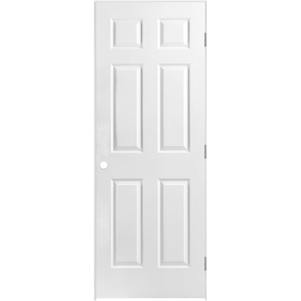 30 in. x 80 in. 6-Panel Left-Handed Hollow-Core Textured Primed Composite Single Prehung Interior Door
