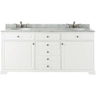 Highclere 72 in. W x 22 in. D Double Bath Vanity in White with Carrera Marble Vanity Top in White