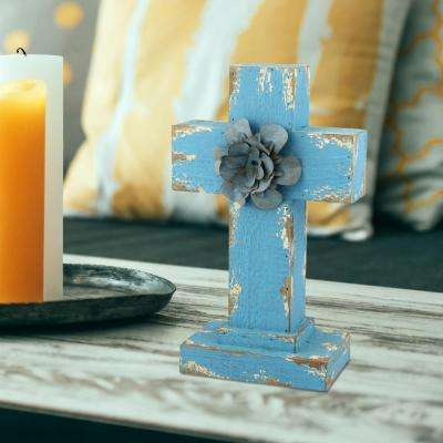 7 in. x 11 in. Turquoise Weathered Wood Cross Pedestal