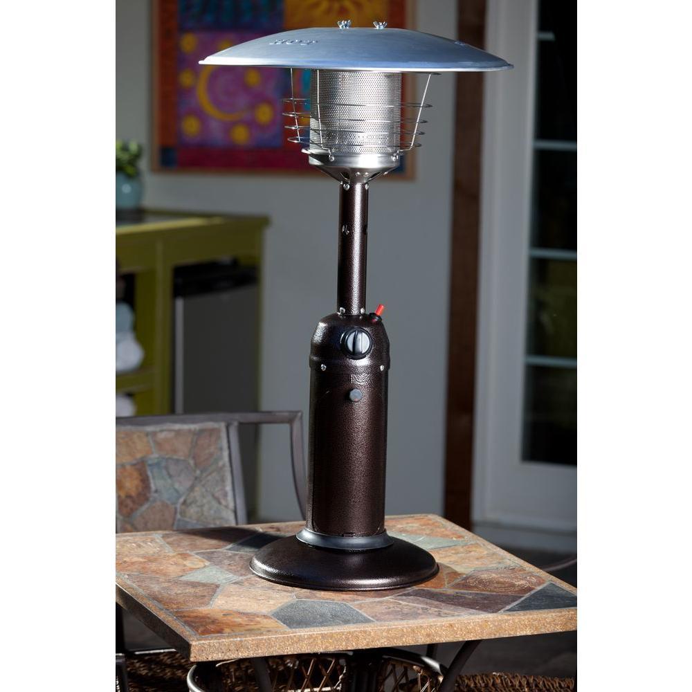 Fire Sense 10 000 Btu Hammered Bronze Tabletop Propane Gas Patio Heater 61322 The Home Depot