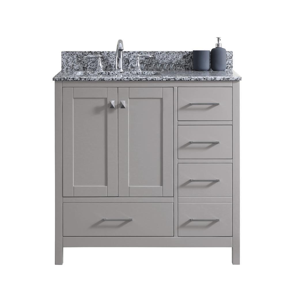 Caroline Madison 36 in. W Bath Vanity in C. Gray with Granite Vanity Top in Arctic White Granite with Square Basin