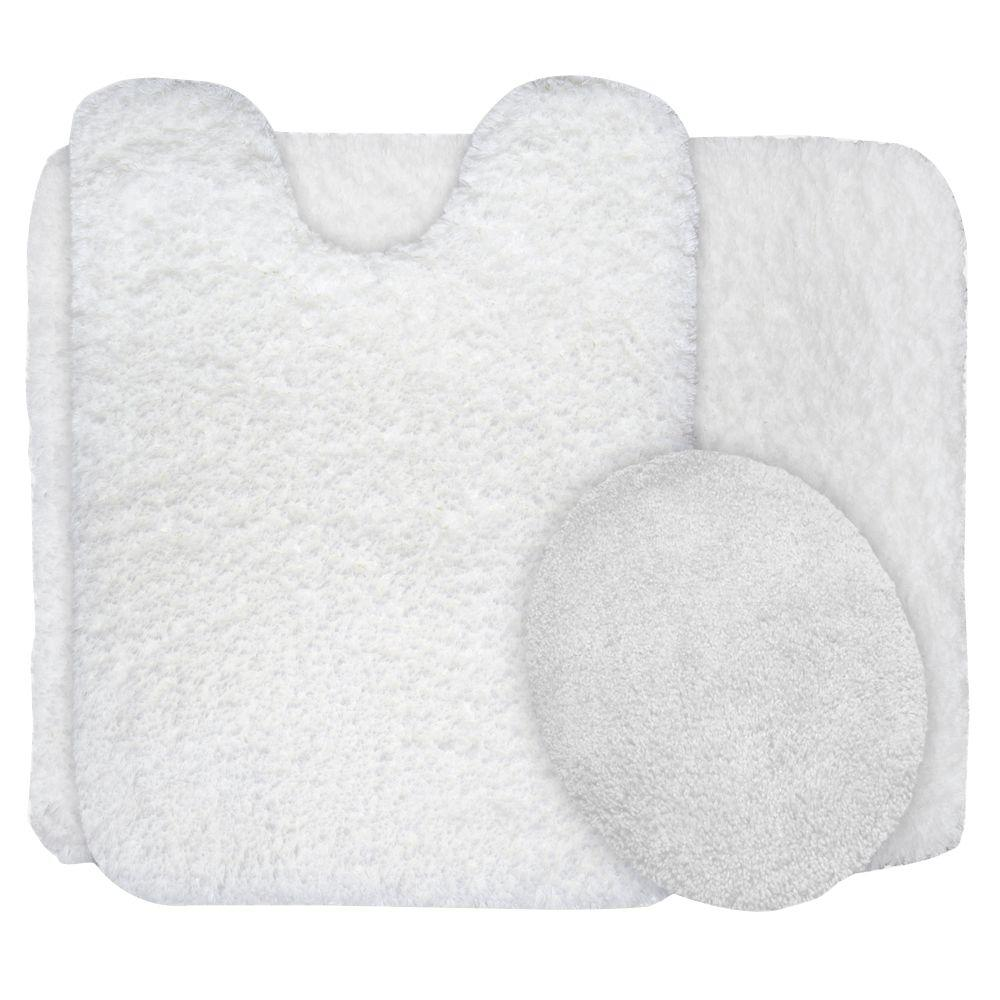 Lavish Home White 19.5 in. x 24 in. Super Plush Non-Slip 3-Piece Bath Rug Set