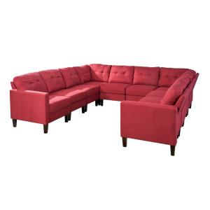 Delilah Mid-Century Modern 10-Piece Red Fabric U-Shaped Sectional Sofa Set