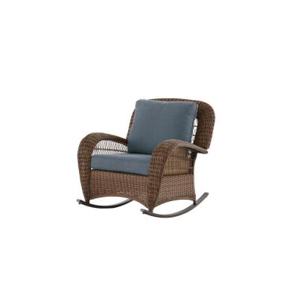 Beacon Park Brown Wicker Outdoor Patio Rocking Chair with Sunbrella Denim Blue Cushions