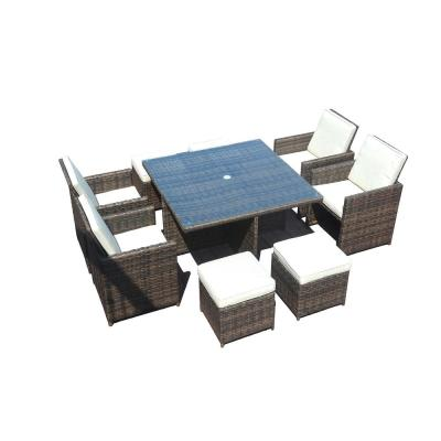 Diana Brown Wicker 9-Pieces Patio Dining Set With Beige Cushions and Ottomans