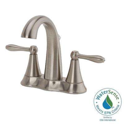 Montbeliard 4 in. Centerset 2-Handle Mid-Arc Bathroom Faucet in Brushed Nickel