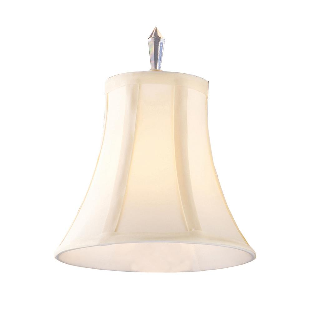 Emilion 1-Light White Fabric Shade with Crystal Finial