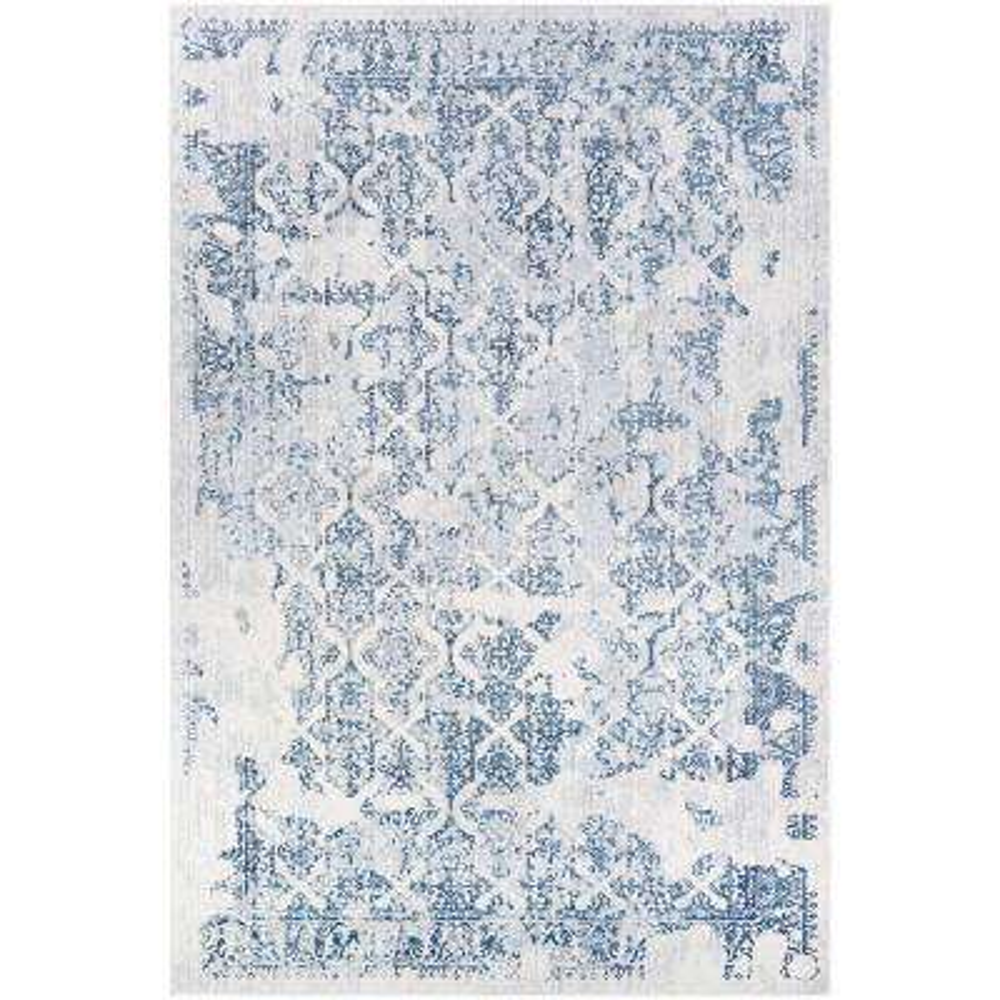 Calinda Grand Damask Steel Blue-Ivory 9 ft. x 12 ft. Area Rug
