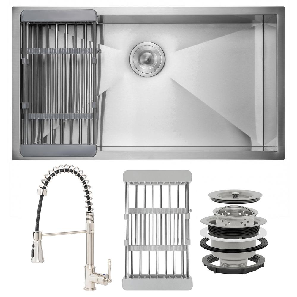 AKDY Handmade All-in-One Undermount Stainless Steel 32 in. x 18 in. Single Bowl Kitchen Sink, Spring Neck Faucet, Drying Rack, Brushed Stainless Steel was $468.0 now $299.99 (36.0% off)