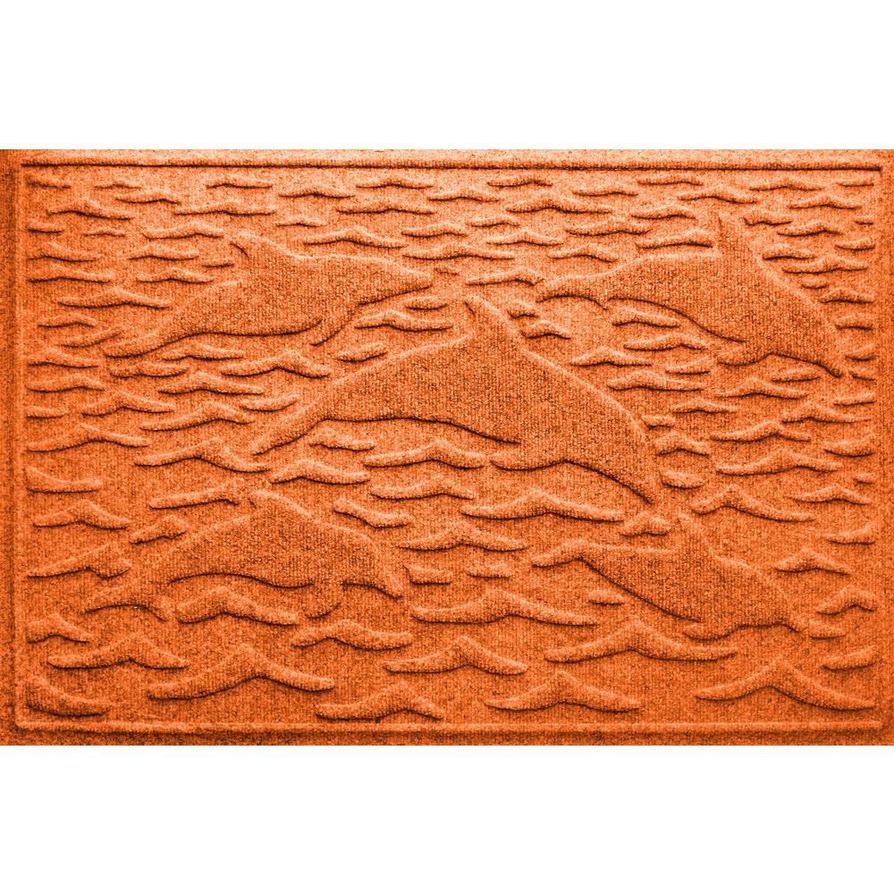 Orange 24 in. x 36 in. Statement of Porpoise Polypropylene Door Mat