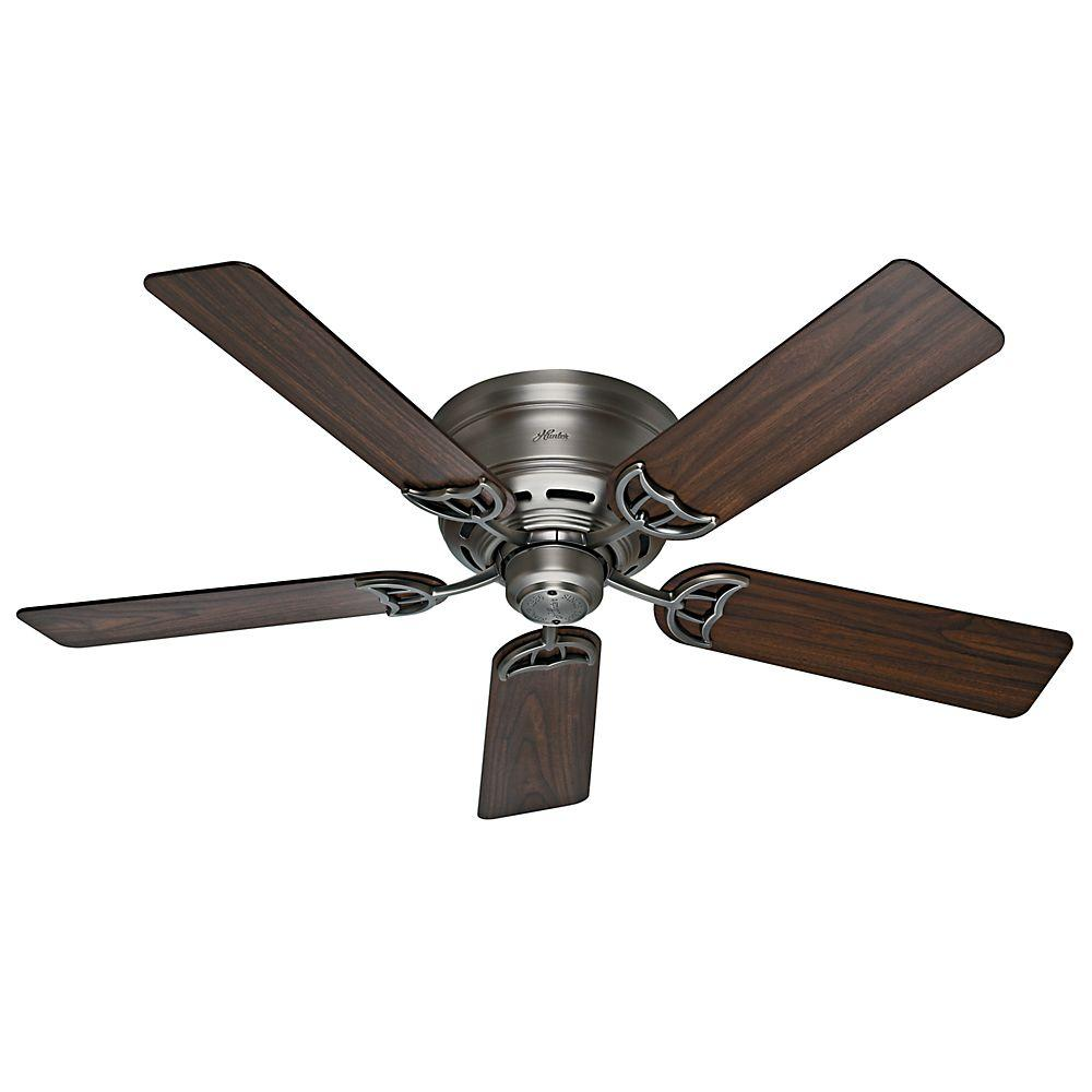 Hunter Low Profile Iii 52 In Indoor Antique Pewter Ceiling Fan 53071 The Home Depot