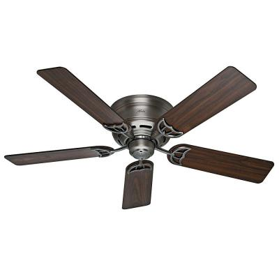 Low Profile III 52 in. Indoor Antique Pewter Ceiling Fan Bundled with Handheld Remote Control