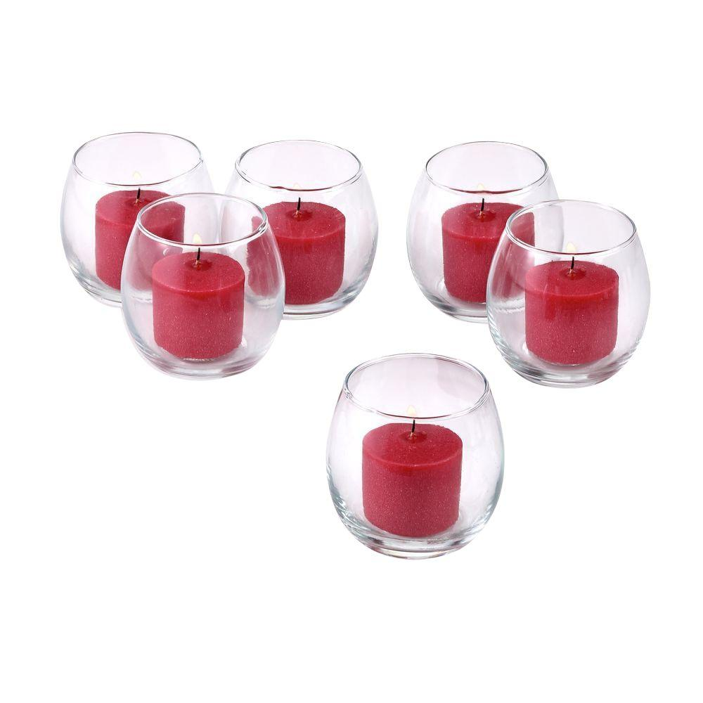 f350ed64e1 Light In The Dark Clear Glass Hurricane Votive Candle Holders with Red Votive  Candles (Set