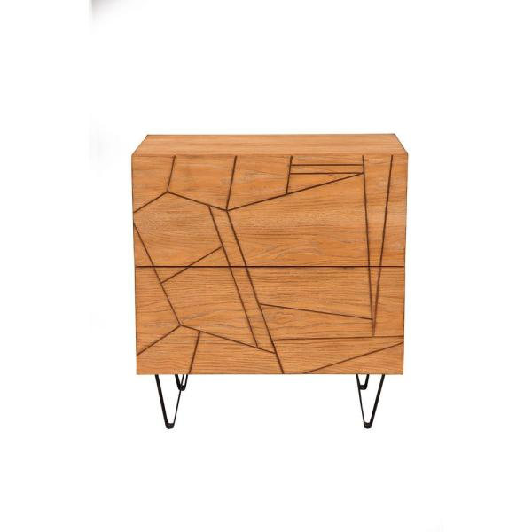 Trapezoid 2-Drawer Cerused Wheat Nightstand