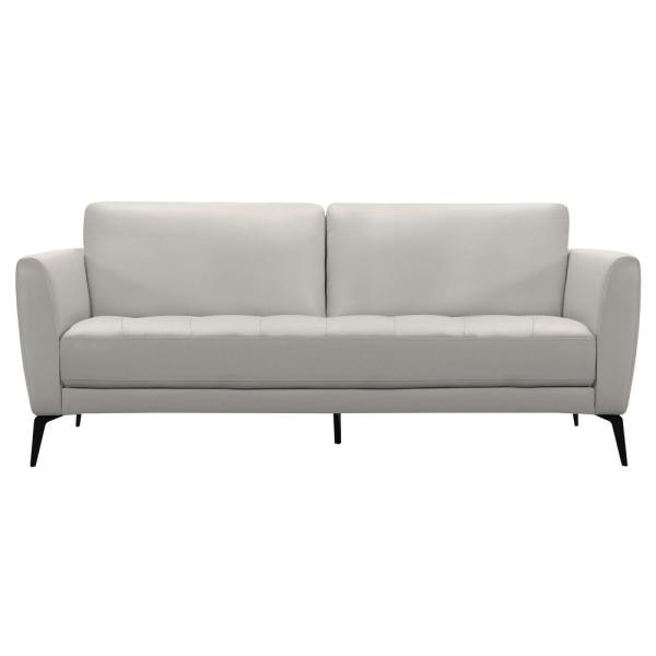 Armen Living Genuine Dove Grey Leather Contemporary Sofa with Black Metal Legs